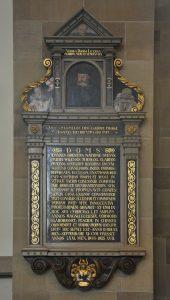 Epitaph für Johannes Brenz von 1584 in der Stuttgarter Stiftskirche. Unter der Kanzel der Stiftskirche befindet sich das Grab von J. Brenz.
