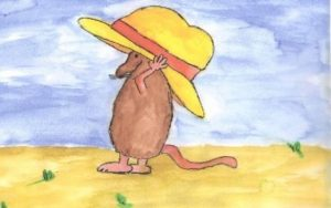 gezeichnete Rate mit gelbem Hut
