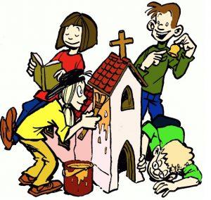 drei Kinder bauen Kirche