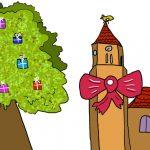 Zeichnung Baum Kirche Geschenke