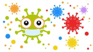 bunte Viren mit Mundschutz