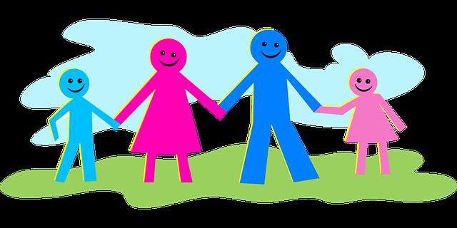 figuren blau und pink familie