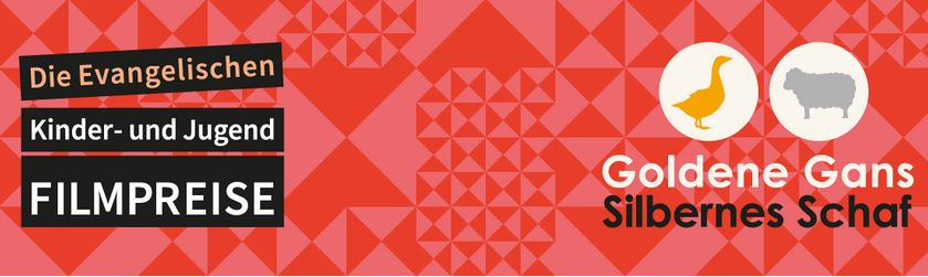 rotes Feld mit Logo und Schrift