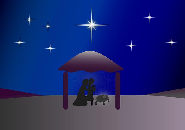 Jesus Familie unter Nachthimmel