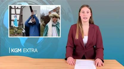 Nachrichtensprecherin Hintergrundbild Krippenspiel